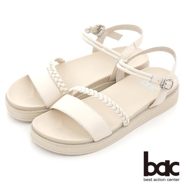 【bac】小清新一字帶編織厚底涼鞋(白色)
