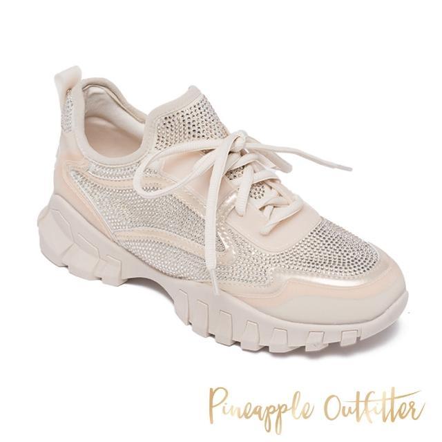 【Pineapple Outfitter】TACI 潮流亮鑽厚底綁帶老爹鞋(粉膚)