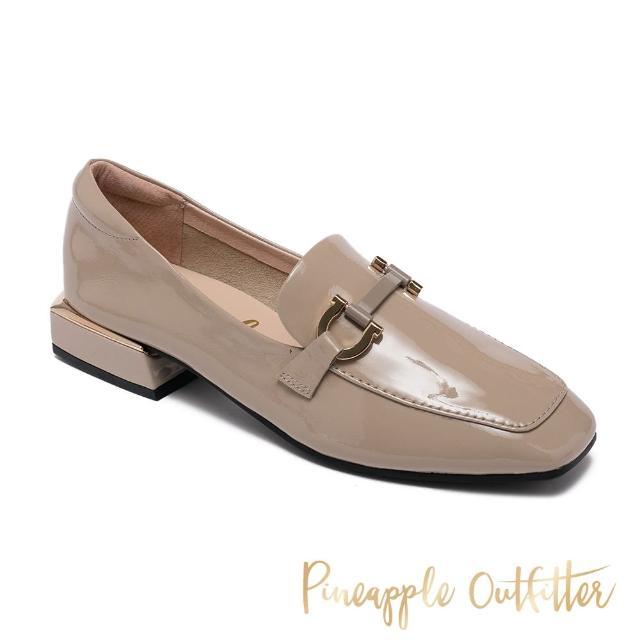【Pineapple Outfitter】EDITH 真皮金屬釦方頭低跟穆勒鞋(奶茶棕)