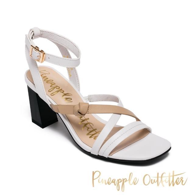 【Pineapple Outfitter】INGRID 真皮撞色交叉細帶高跟涼鞋(白色)