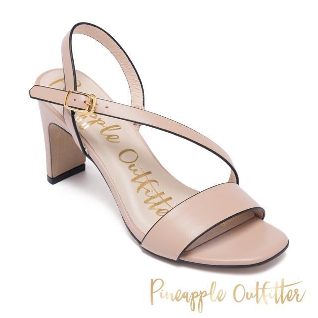 【Pineapple Outfitter】SANNA 真皮一字斜細帶高跟涼鞋(粉藕)