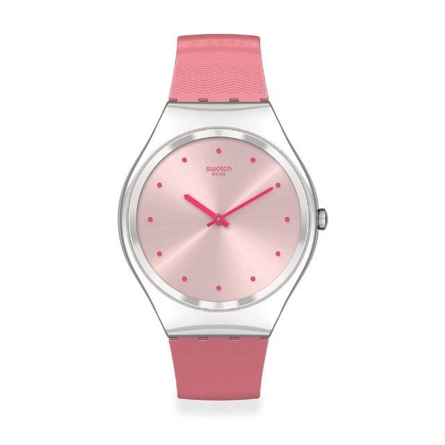 【SWATCH】Skin Irony 超薄金屬系列手錶ROSE MOIRE 粉色波光(38mm)