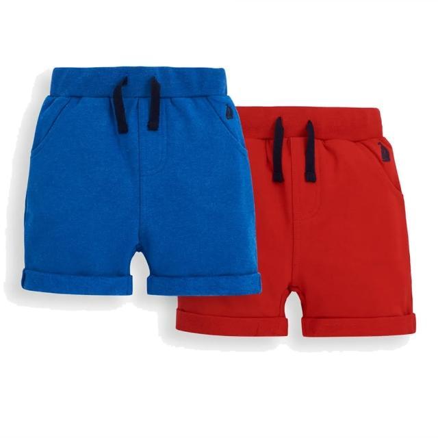 【JoJo Maman BeBe】超優質嬰幼兒/兒童100% 純棉綁繩短褲2入組_紅藍(JJE5503C)