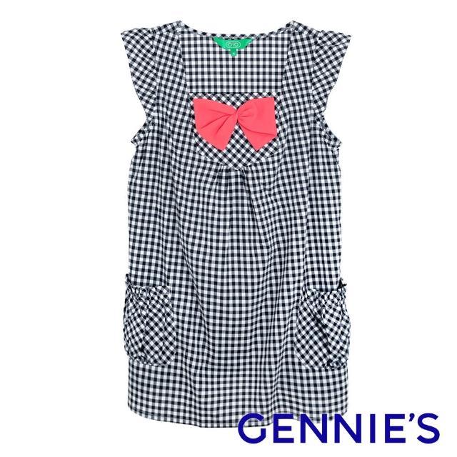 【Gennies 奇妮】010系列-格紋蝴蝶結上衣(黑白格T3532)