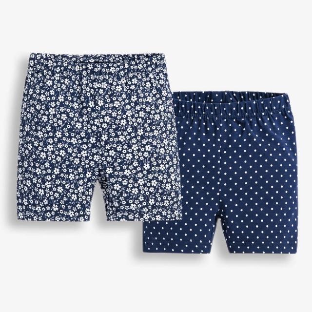 【JoJo Maman BeBe】超優質嬰幼兒/兒童100% 純棉鬆緊帶短褲2入組_深藍碎花(JJE4414)