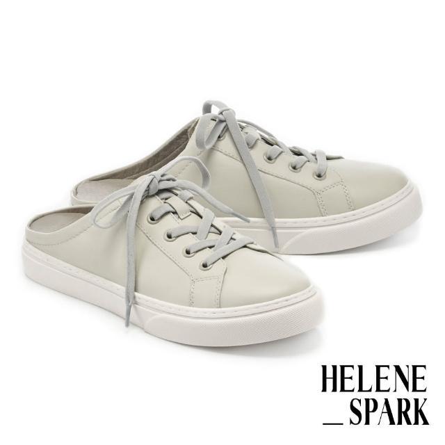 【HELENE SPARK】簡約率性純色全真皮穆勒厚底休閒拖鞋(灰)