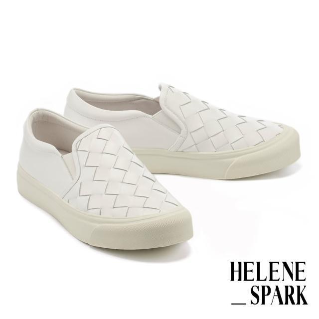 【HELENE SPARK】率性日常全真皮編織厚底休閒鞋(白)