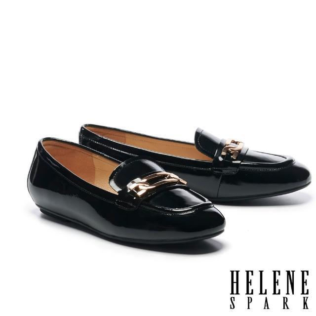 【HELENE SPARK】百搭金屬鏈釦全真皮樂福平底鞋(黑)