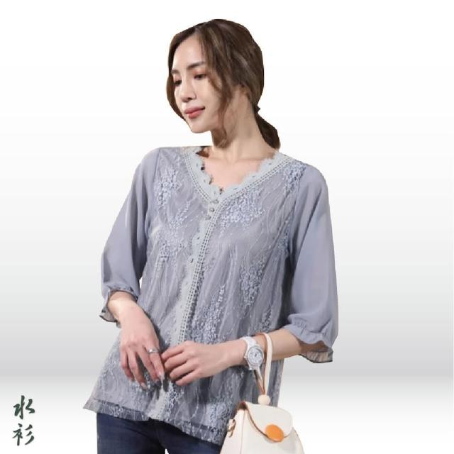 【水衫】輕柔雪紡蕾絲五分袖上衣四件組(J03-04)