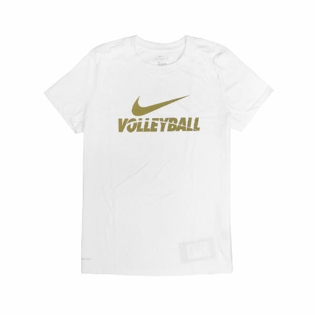 【NIKE 耐吉】T恤 Volleyball Tee 女款 運動休閒 吸濕排汗 DRI-FIT 圓領 白 金(561423100V-B70)