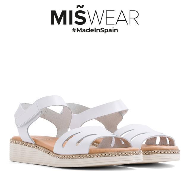 【MISWEAR】Miswear 真皮鏤空黏貼厚底涼鞋-白