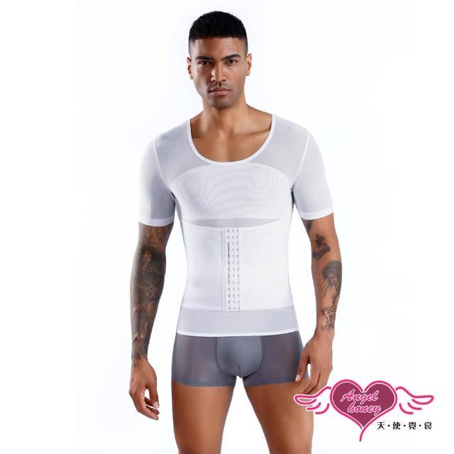 【Angel 天使霓裳】塑身衣 腹足人生 增強式馬甲型塑身衣 短袖彈性透氣運動上衣 內搭T恤(白M-2L)