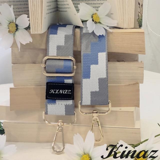 【KINAZ】幾何方塊品牌質感寬版背帶-海風特調-帶我走系列