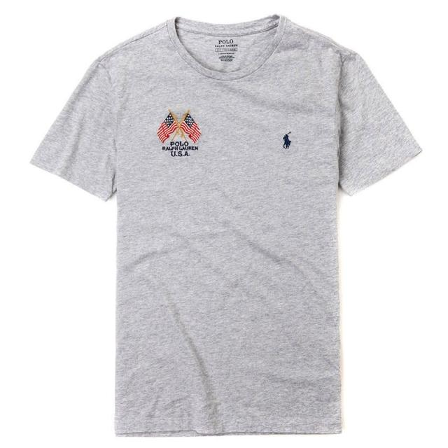 【RALPH LAUREN】Polo Ralph Lauren 年度熱銷旗幟小馬圓領素面短袖T恤-灰色
