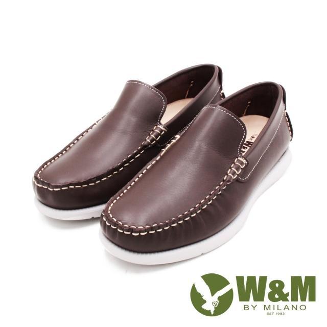 【W&M】男 方頭車線 雅痞懶人樂福便鞋 男鞋(咖)