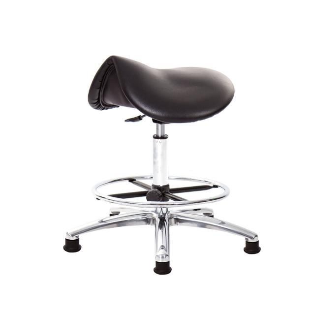 【GXG 吉加吉】馬鞍型 工作椅 寬鋁腳+電金踏圈款(TW-T05 LU1K)