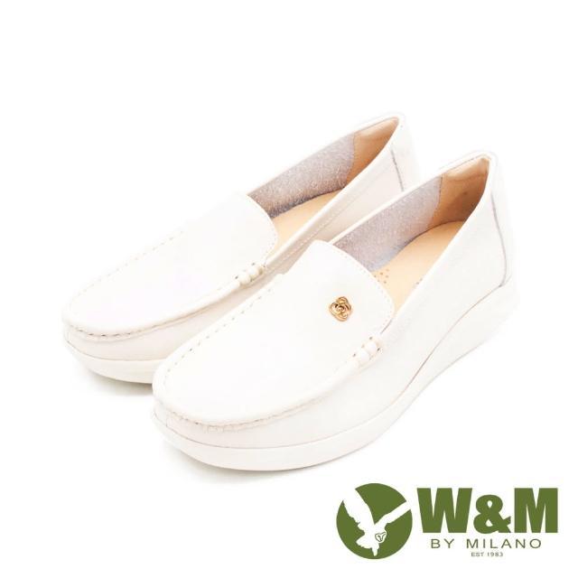【W&M】女 玫瑰金花型釦 增高樂福鞋 女鞋(米白)