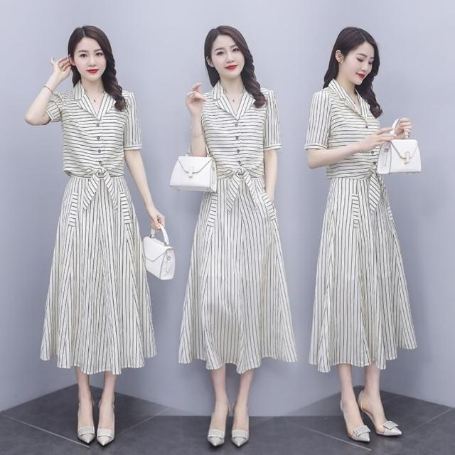 【SZ】知性時尚西裝領拚色條紋衣裙二件套S-2XL