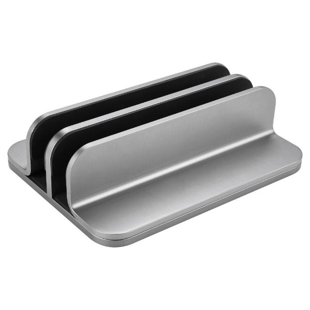 【Jokitech】雙口垂直式筆電立架 鋁合金筆記型電腦收納架(桌上收納 筆電架 平板架 Mac支架)