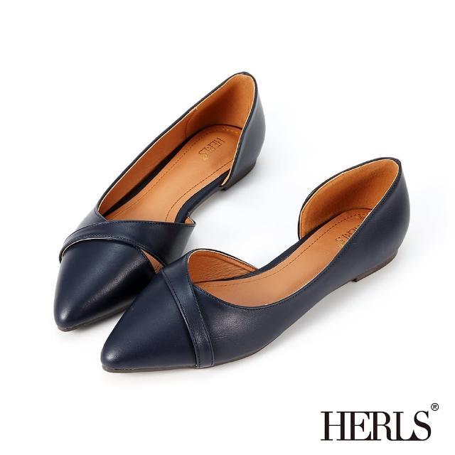 【HERLS】平底鞋-優雅交錯線條側鏤空尖頭平底鞋(深藍色)