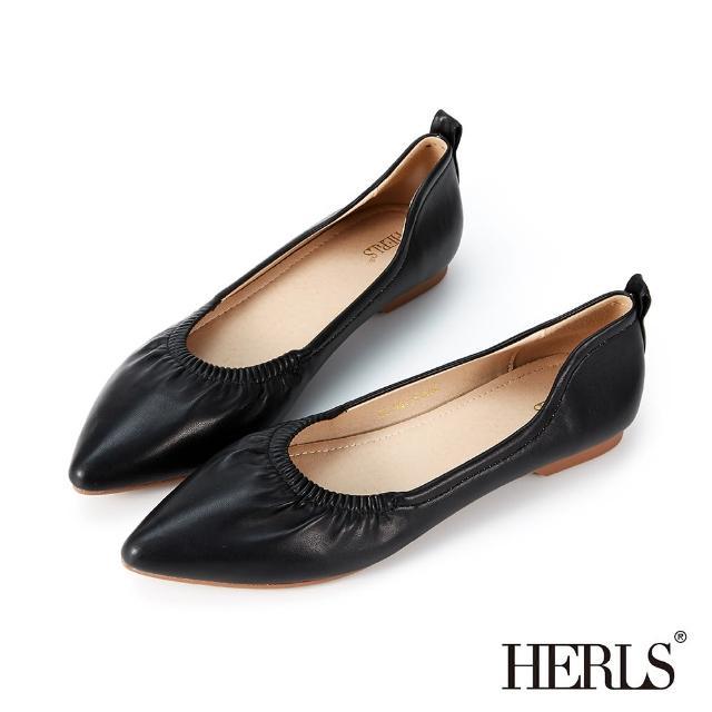 【HERLS】平底鞋-溫柔抓皺造型尖頭平底鞋(黑色)