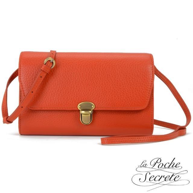 【La Poche Secrete】簡約真皮荔枝紋隨身側背斜背包(楓紅橘)