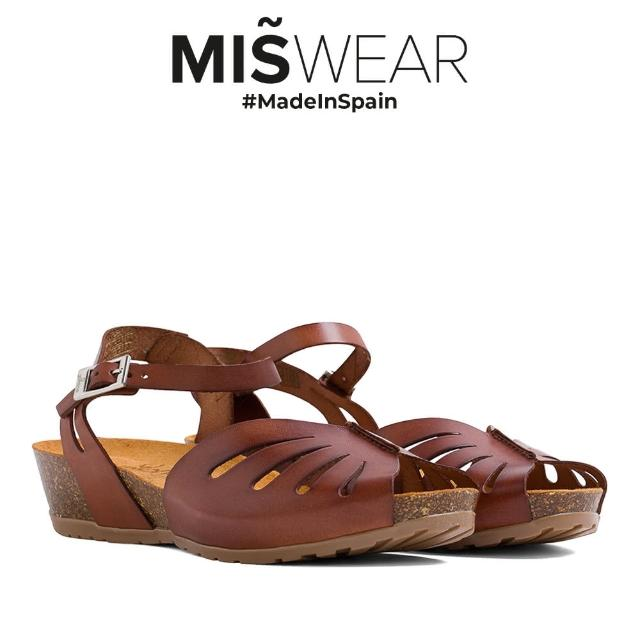 【MISWEAR】Yokono 真皮鏤空軟木涼鞋-深棕