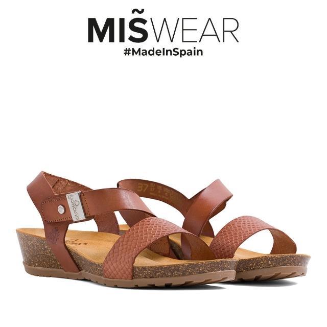 【MISWEAR】Yokono 真皮蛇紋軟木涼鞋-棕