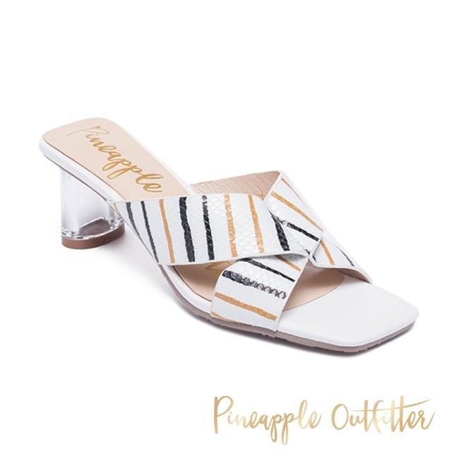 【Pineapple Outfitter】REIKA 真皮交叉條紋寬帶透明中跟涼鞋(白色)