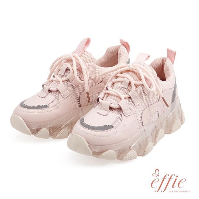 【A.S.O 阿瘦集團】effie網獨款-mojito愜意假期拼接綁帶果凍老爹鞋(粉紅)