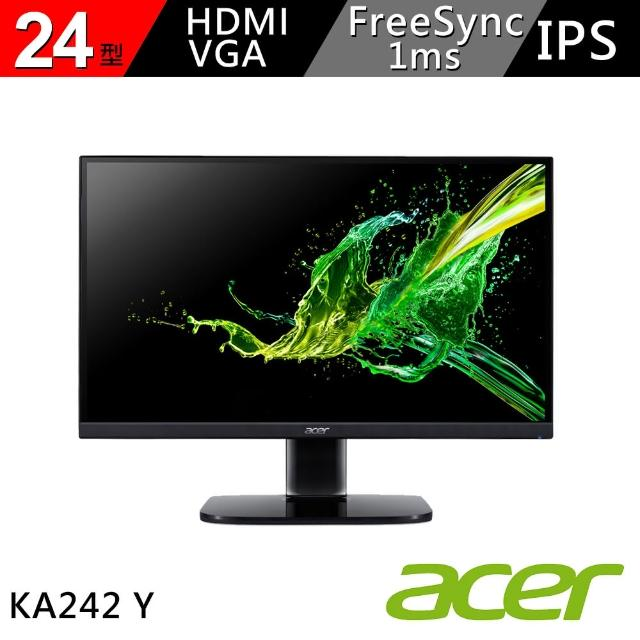 【2入組】Acer 24型 IPS 廣視角 1ms 支援FreeSync 可壁掛 HDMI介面 護眼螢幕(KA242Y)