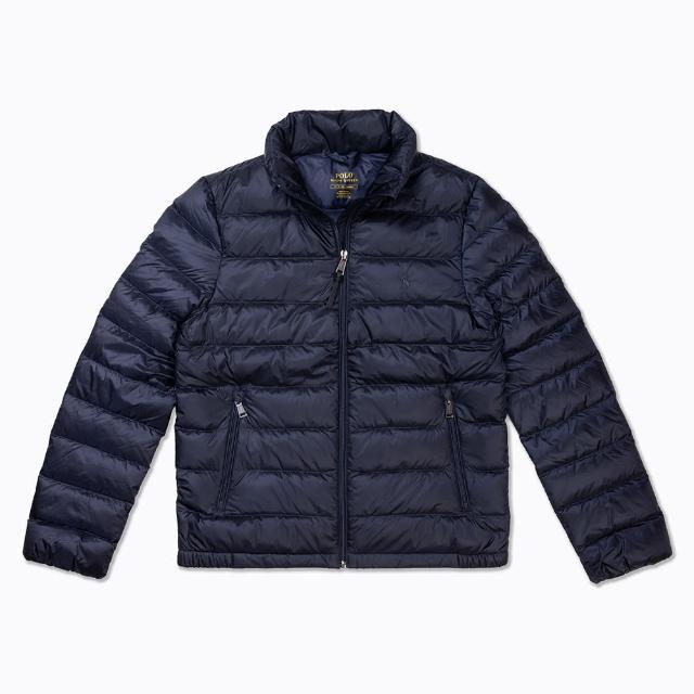 【RALPH LAUREN】Polo Ralph Lauren 年度熱銷防風防潑水保暖立領羽絨外套-女-深藍色