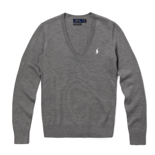 【RALPH LAUREN】Polo Ralph Lauren 經典V領刺繡小馬棉質針織毛衣-女-灰綠色