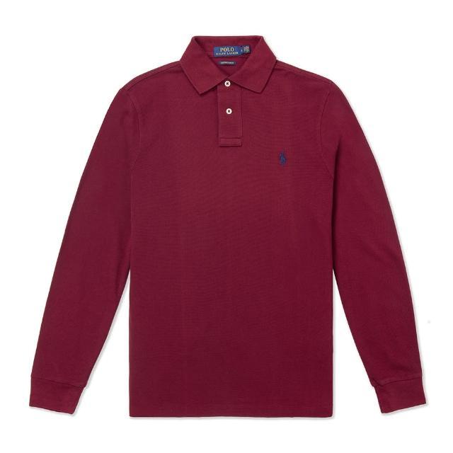 【RALPH LAUREN】Polo Ralph Lauren 經典刺繡小馬長袖Polo衫-Custom Slim-酒紅色