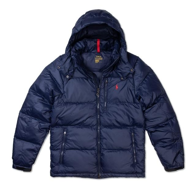 【RALPH LAUREN】Polo Ralph Lauren 年度熱銷防風防潑水可拆式連帽羽絨外套-深藍色