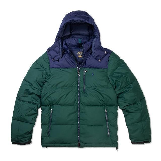 【RALPH LAUREN】Polo Ralph Lauren 年度熱銷防風防潑水可拆式連帽羽絨外套-墨綠色