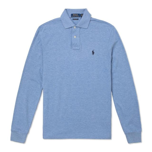 【RALPH LAUREN】Polo Ralph Lauren 經典刺繡小馬長袖Polo衫-Custom Slim-麻花水藍色
