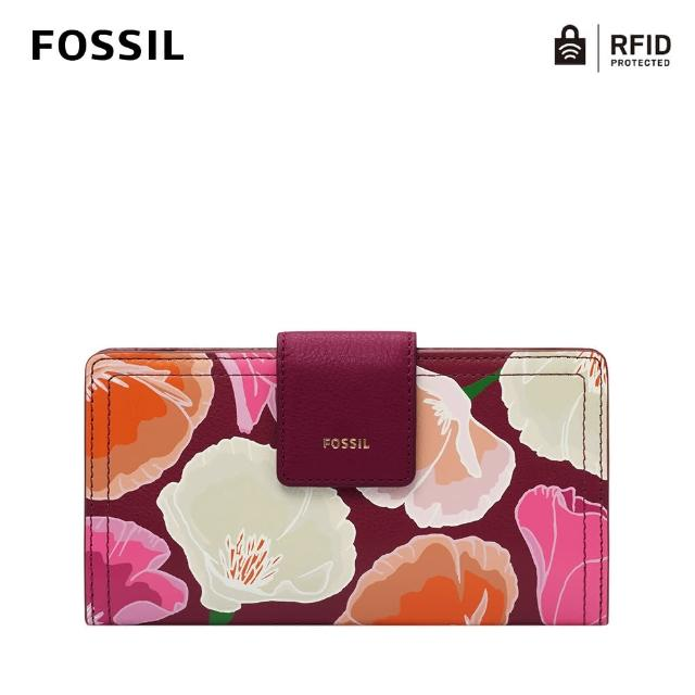 【FOSSIL】Logan 真皮扣式RFID防盜中長夾-粉色花卉 SL6478664
