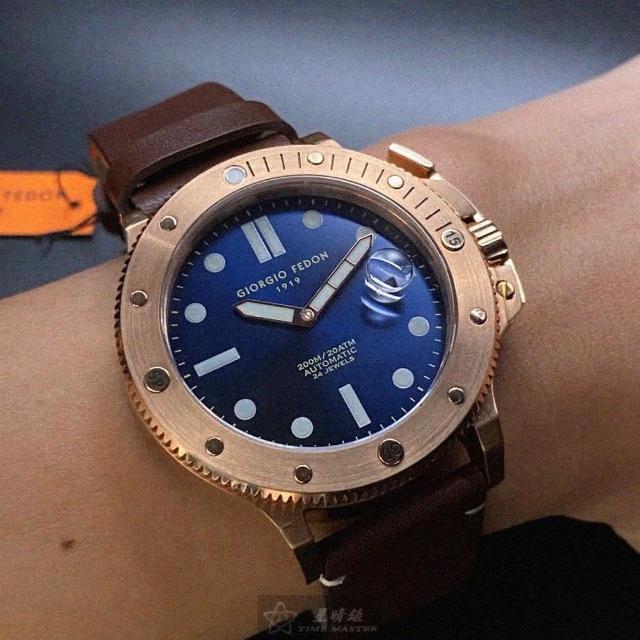 【GIORGIO FEDON 1919】喬治飛登1919男錶型號GF00007(寶藍色錶面玫瑰金錶殼咖啡色真皮皮革錶帶款)