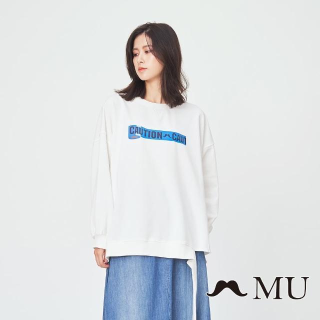 maru.a【maru.a】MU 側邊破壞感落肩長版逗趣印花上衣(白色)