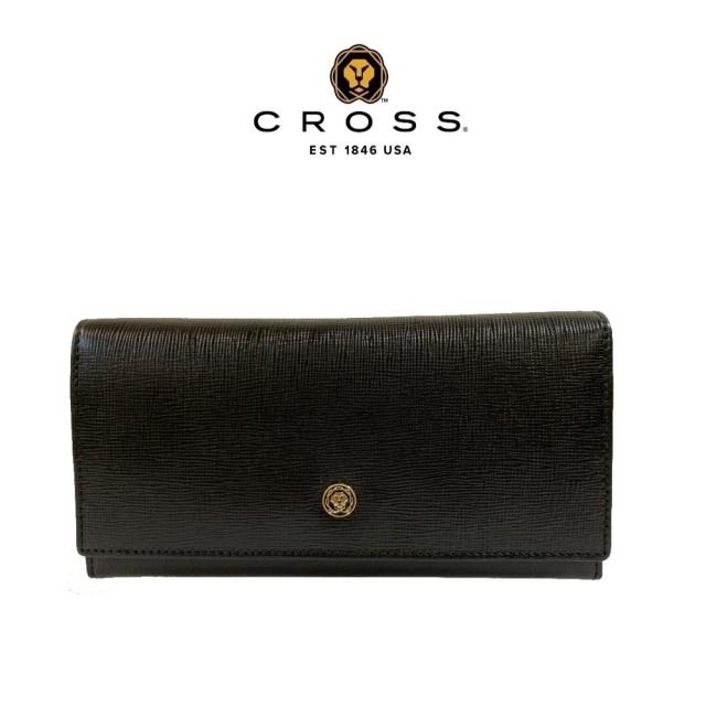 【CROSS】限量1折 頂級NAPPA小牛皮十字紋鈕扣拉鍊長夾 全新專櫃展示品(黑色 附贈原廠送禮提袋)