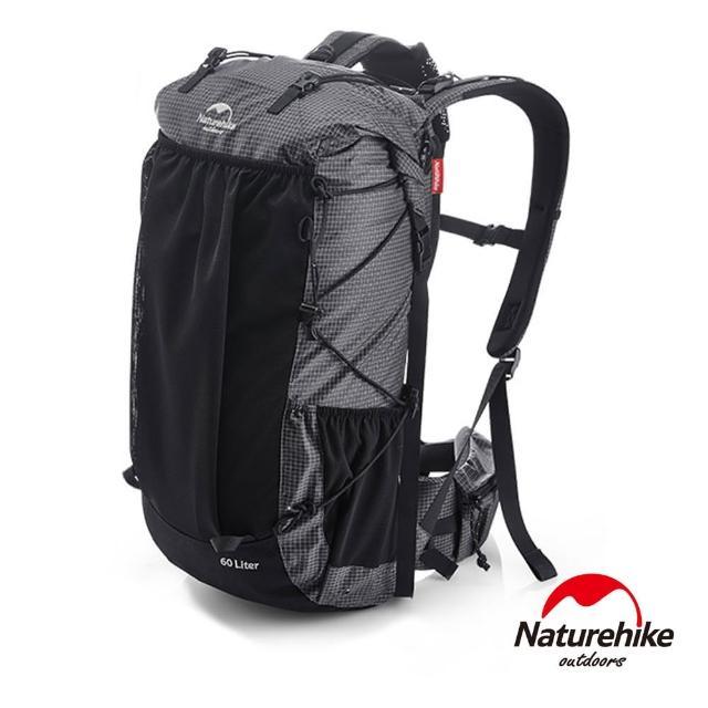 【Naturehike】60+5L ROCK徒步重裝登山後背包 自助旅行包(黑色)