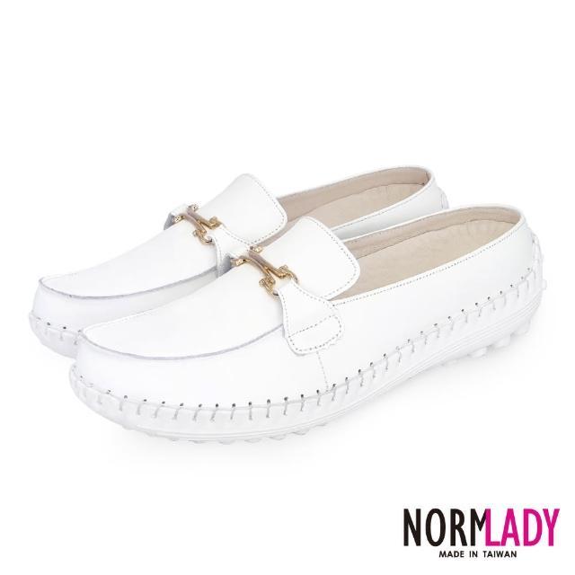 【Normady 諾曼地】女鞋 避震 氣墊 穆勒鞋 簡約馬銜釦全真皮磁石內增高氣墊球囊穆勒鞋-MIT手工鞋(純真白)