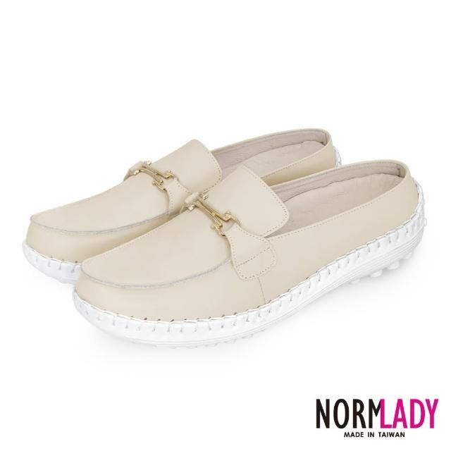 【Normady 諾曼地】女鞋 避震 氣墊 穆勒鞋 簡約馬銜釦全真皮磁石內增高氣墊球囊穆勒鞋-MIT手工鞋(香草杏)