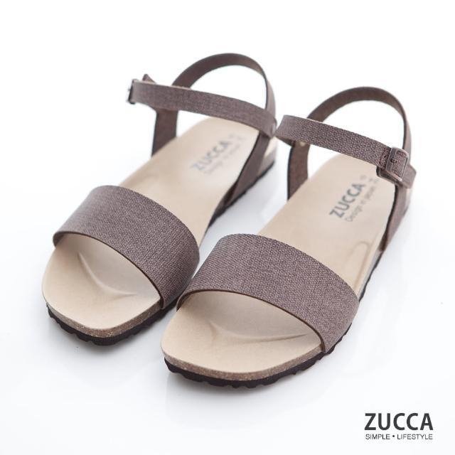 【ZUCCA&bellwink】質感皮革扣環素帶涼鞋z7007ce-棕色