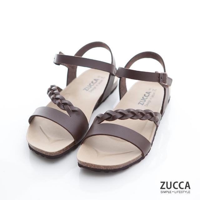 【ZUCCA&bellwink】編織皮交紋扣環涼鞋z7008ce-棕色