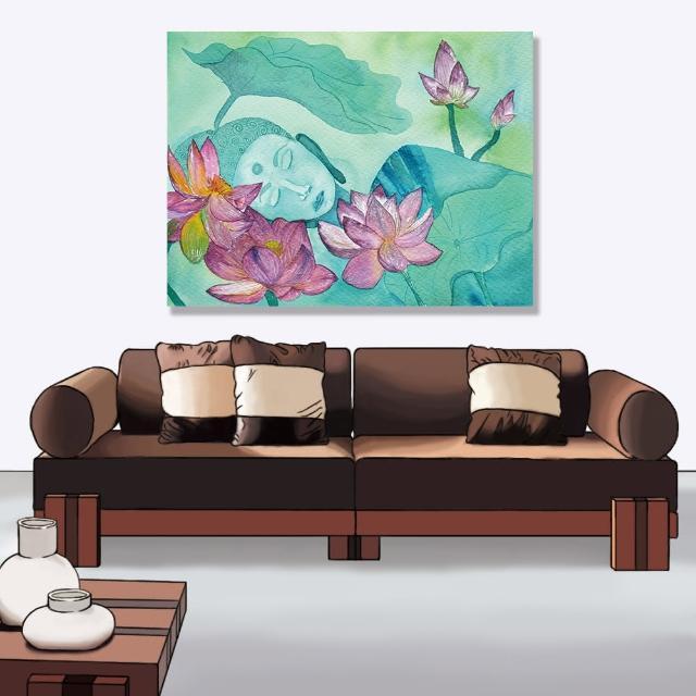 【24mama 掛畫】單聯式 油畫布 藝術 柔和 佛教 印度 亞洲 藝術 沉思 花卉 泰國 無框畫-40x30cm(佛像和蓮花)