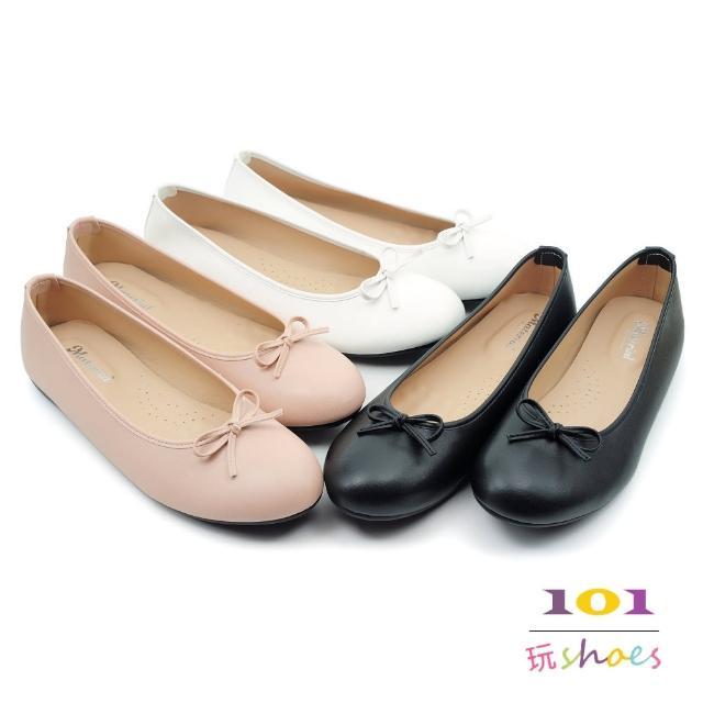 【101 玩Shoes】mit.甜美小蝴蝶乳膠墊平底大尺碼豆豆鞋(黑/粉/白.41-44碼.大尺碼女鞋)