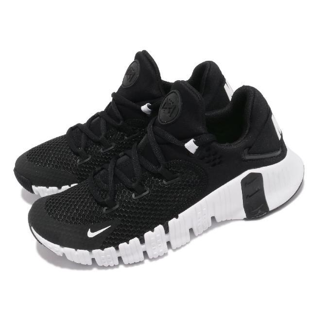 【NIKE 耐吉】訓練鞋 Free Metcon 4 運動 女鞋 襪套 健身房 支撐 穩定 包覆 重訓 黑 白(CZ0596-010)