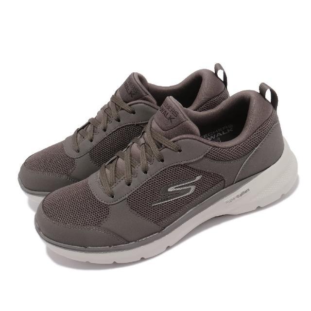 【SKECHERS】休閒鞋 Go Walk 6-Compete 男鞋 健走鞋 機能 避震 緩衝 輕量 回彈 灰 淺褐(216203KHK)